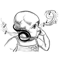 Baby with headphones vector image