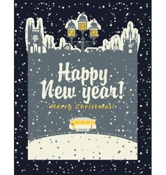 Christmas card with an old tram vector image