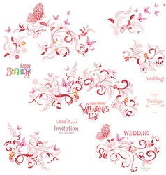 Collection floral elements with flying butterflies vector image vector image