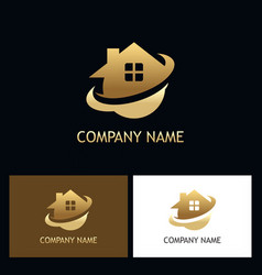 gold home secure logo vector image