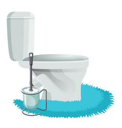 White toilet bowl on blue rug and cleaning brush vector