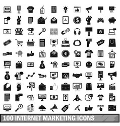 100 internet marketing icons set simple style vector