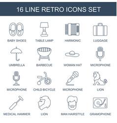 16 retro icons vector