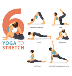 6 yoga poses for body stretching concept vector image