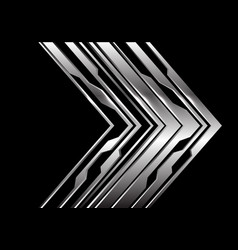 Abstract silver circuit arrow direction on black vector