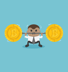 african businessman raises a bar with bitcoin sign vector image