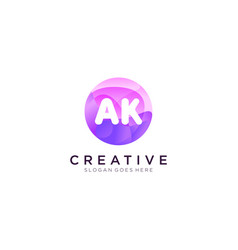 Ak initial logo with colorful circle template vector