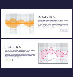 Analytics and statistics internet info pages set vector