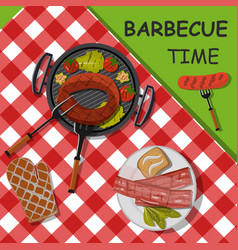 bbq background with grilled vegetables sausage vector image