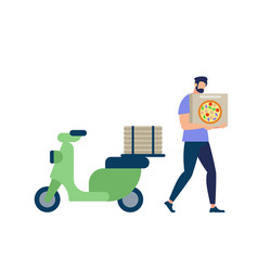 bearded man wearing blue shirt carry pizza box vector image
