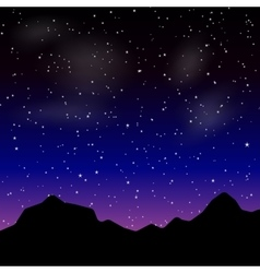Beautiful night landscape with stars and vector