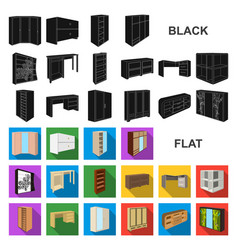 Bedroom furniture flat icons in set collection for vector