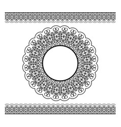 black lacy border and circle frame vector image