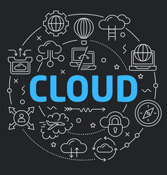 Black line flat circle cloud vector