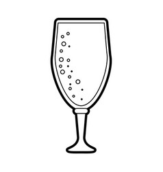 black silhouette cartoon beer in cup glass with vector image