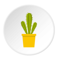 Blooming cactus icon circle vector