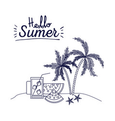 Blue silhouette poster of hello summer with vector