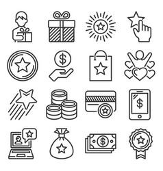 bonus and loyalty money program icons set vector image