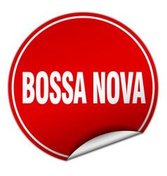 Bossa nova round red sticker isolated on white vector