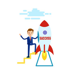 businessman has reached success goes to rocket vector image