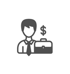 Businessman with case icon vector