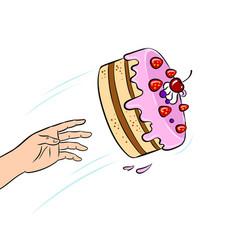 Cake is thrown pop art vector
