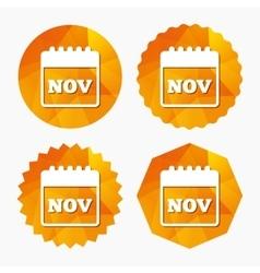 Calendar sign icon November month symbol vector