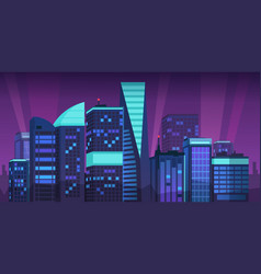 cartoon night city skyline landscape vector image