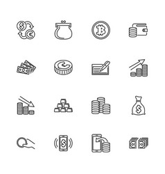 Cash and coin - flat line icons vector