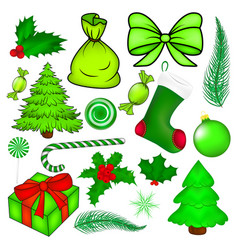 Christmas symbol set icon design winter isolated vector