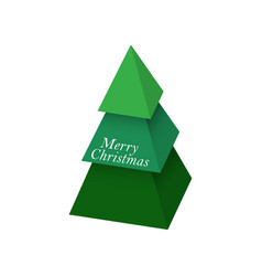 christmas tree made of 3d green pyramids vector image