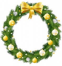christmas wreath with golden a vector image vector image