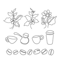 Coffee set art graphic sign vector