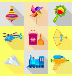 colorful toy icons set cartoon style vector image