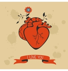 Concept love card with heart blooming vector