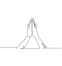 Continuous one line drawing hands icons vector