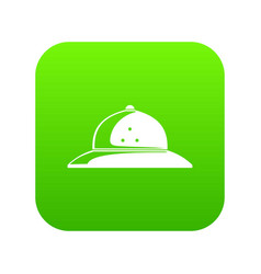 Cork helmet icon green vector