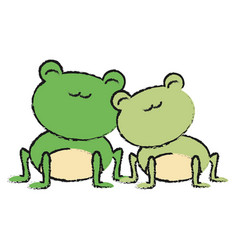 Couple of cute frogs icon vector