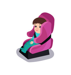 Cute baby sitting on a pink car seat wearing seat vector