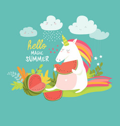 Cute unicorn with watermelon vector