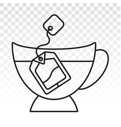 Dipping teabags tea bag in a glass - line art vector