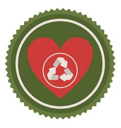 emblem red heart with ecolgy symbol vector image