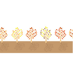 Fall trees with colorful leaves seamless vector