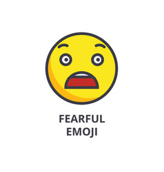 fearful emoji line icon sign vector image