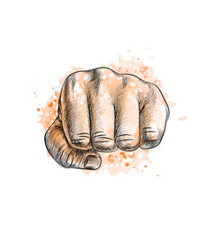 fist from a splash watercolor hand drawn vector image