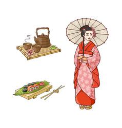 flat geisha sushi and tea ceremony set vector image