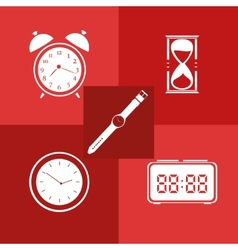 Flat icon set Time Clock vector image