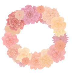 flower wreath with blooming roses isolated on vector image