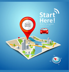folded maps car navigation with red color vector image