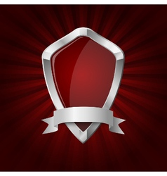 Glossy shield on red rays background vector image